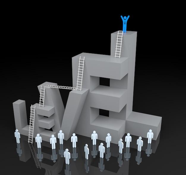 Блок текста уровня 3d с концепцией прогресса лидерства. 3d рендеринг