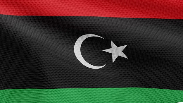 3d, libyan flag waving on wind. close up of libya banner blowing, soft and smooth silk. cloth fabric texture ensign background.