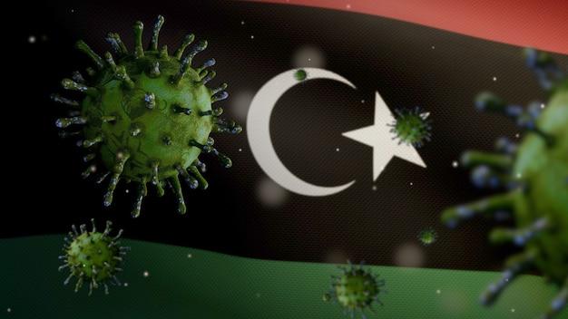 3d, ливийский флаг развевается из-за вспышки коронавируса, заражающего респираторную систему как опасный грипп. вирус гриппа covid 19 на фоне развевающегося национального флага ливии. концепция риска пандемии