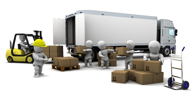 3d визуализации человек вождения вилка lift truck, изолированных на белом