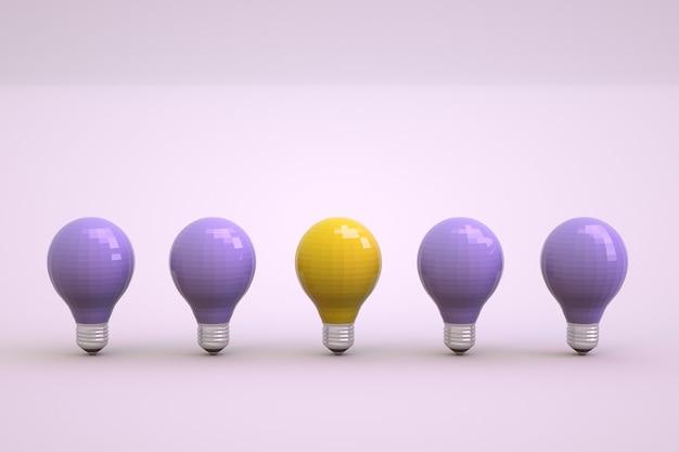 明るい白の孤立した背景に3d電球。とりわけ1つの燃える電球。電球のセットが一列に並んでいます。閉じる。