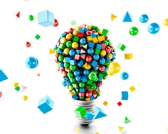 3d Light lamp with geometric and colorfull shapes.