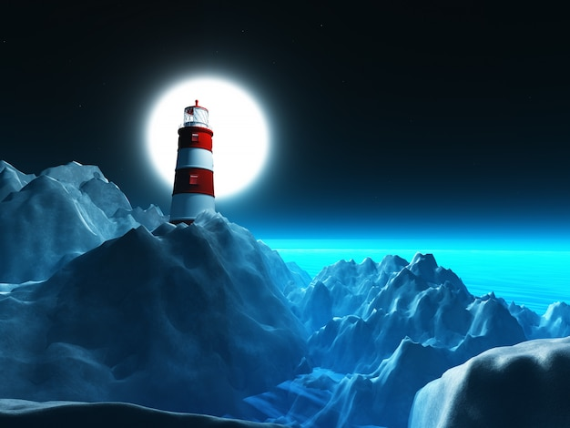 3d lighthouse on rocky cliffs against a night sky