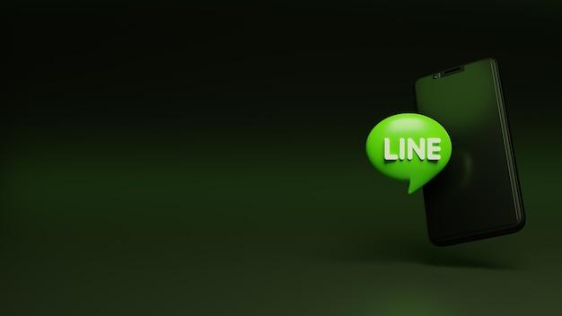 Логотип 3d line на смартфоне и место для текста