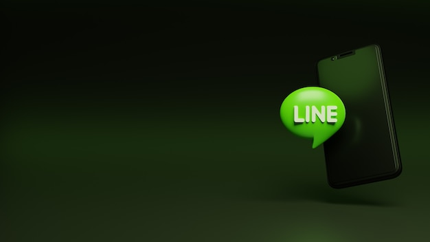 3d line logo on the smartphone and space for your text