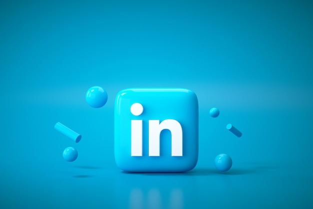 3d linkedin application logo background. linkedin social media platform.