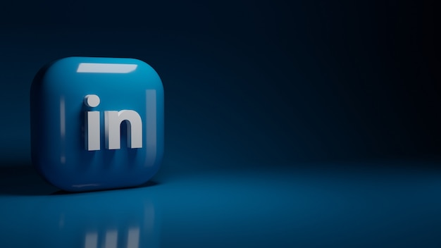 3d linkedin application logo