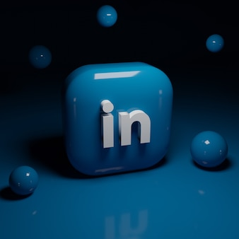 3d linkedin logo application