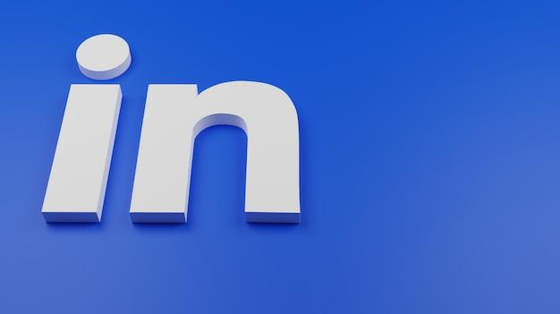 3d linkedin logo icon background copy space