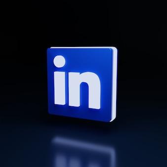 3d linkedin logo icon glow high quality render