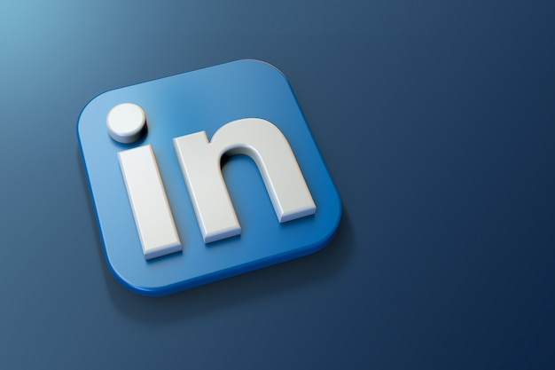 3d linkedin logo minimalist with blank space