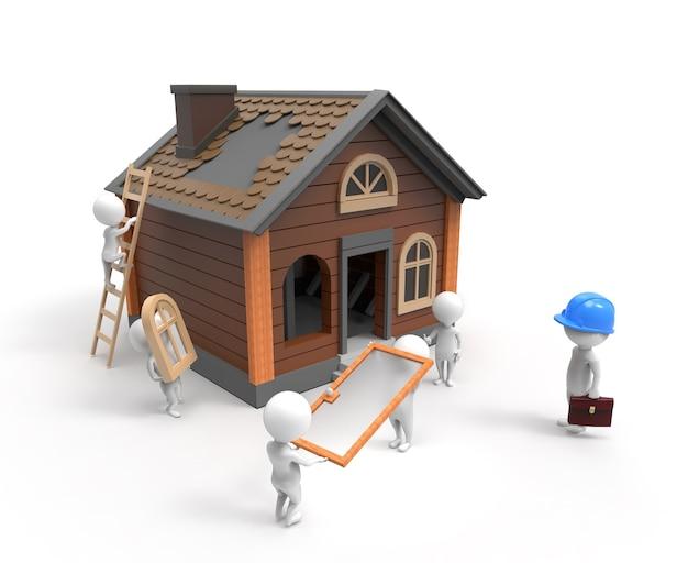 3d 작은 사람들이 집을 짓고 있습니다.