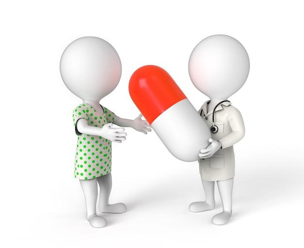 患者にピルを与える医者としての3d小さな人