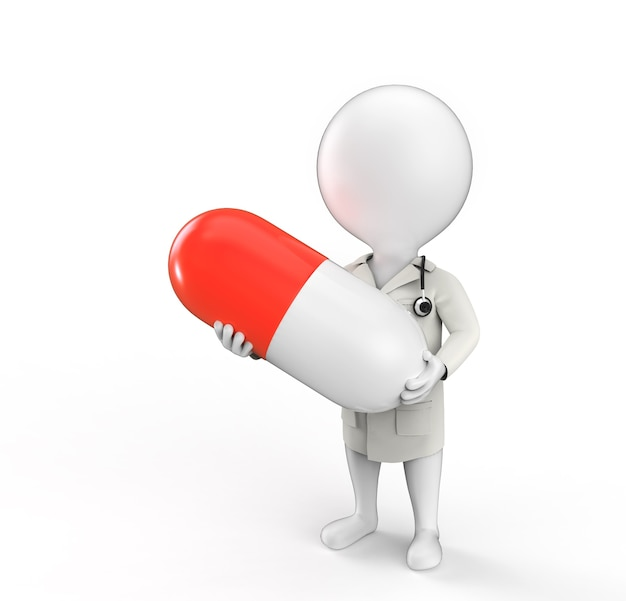 의사가 그의 손에 큰 알약으로 약자로 3d 작은 사람