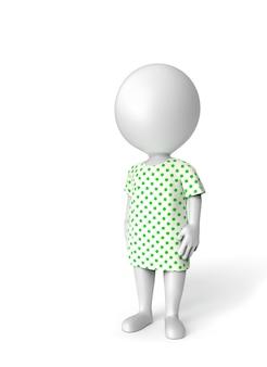 3 d の小さな人が白で隔離される患者として立っています。