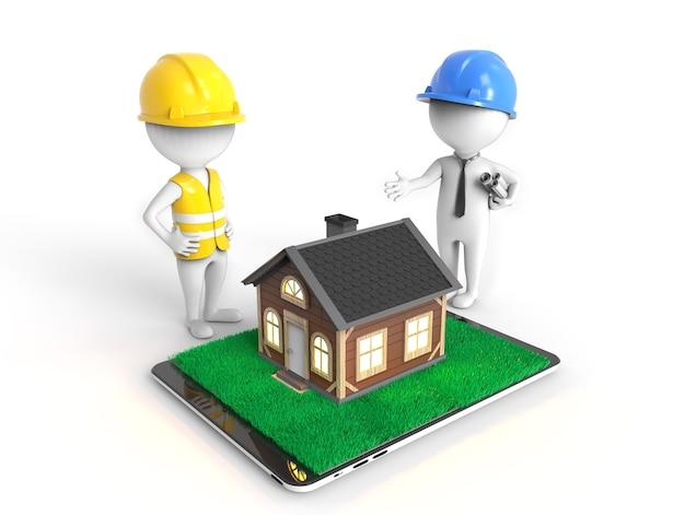 3d の小さな白いエンジニアが自分の家のプロジェクトに取り組んでいます