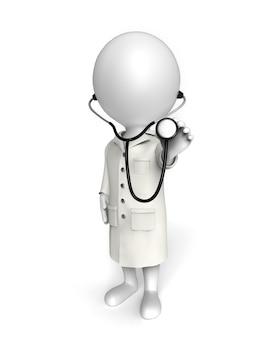 3dの小さな白人があなたを診察する医者として立っています