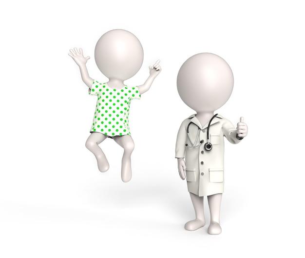 医師と患者としての3dの小さな白人