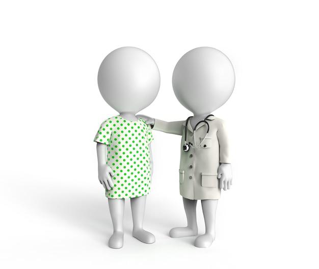 医者と患者として立っている3dの小さな白人