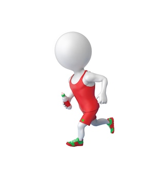3d little white sportsman running with bottle in hand isolated over white