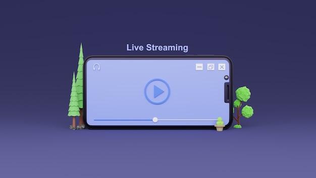 Синяя кнопка воспроизведения 3d в прямом эфире на фиолетовом фоне