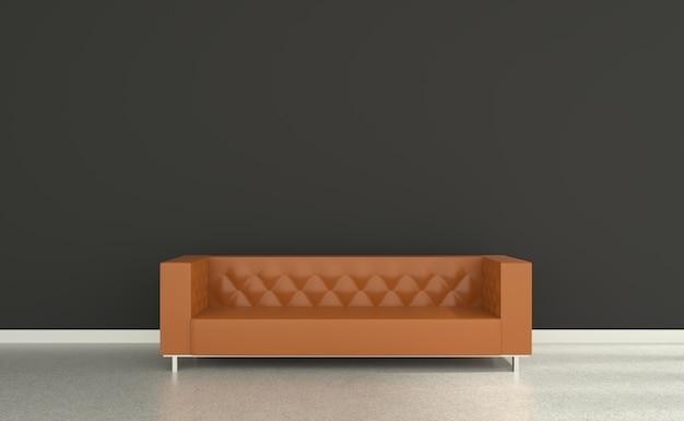灰色の壁のソファオレンジの3dリビングルーム