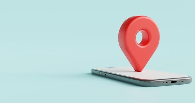 Значок 3d местоположения над концепцией местоположения смартфона