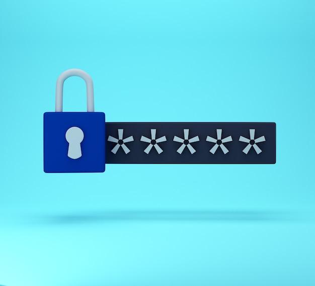 3d блокировка и поле пароля. защищенная паролем концепция безопасного входа в систему. минимальная творческая концепция в синих и черных тонах. 3d рендеринг