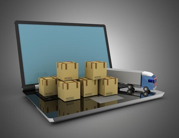 3d 물류 개념. 트럭과 노트북. 3d 그림