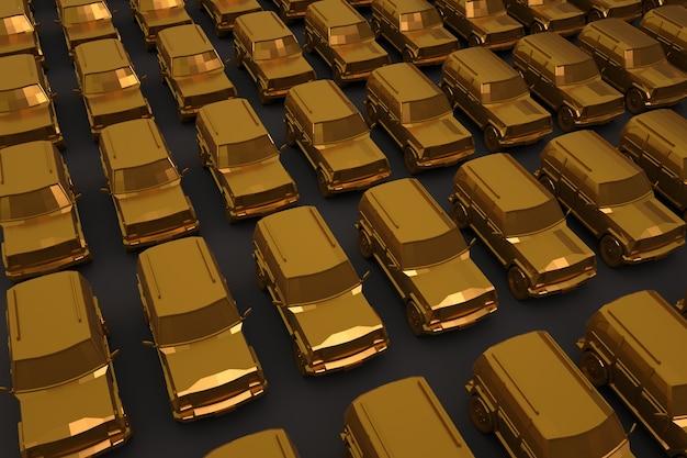 3d много реалистичных автомобилей с золотым покрытием на темном, сером изолированном фоне. большие золотые легковые автомобили. набор золотых легковых автомобилей. 3d графика, крупный план