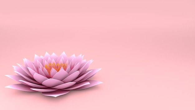 3d lotus flower on pink wall