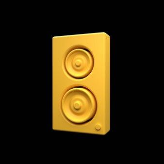 黒で隔離の3dスピーカーアイコン。 3dレンダリングロードスピーカーアイコン。音柱3dアイコン