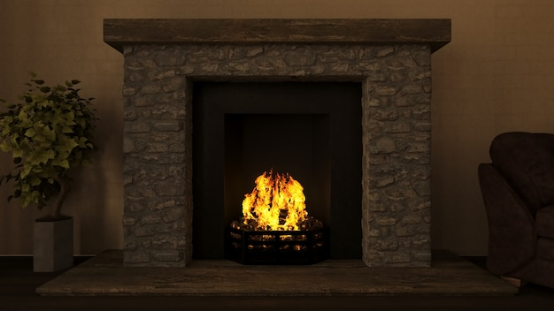 3d lounge interior with roaring fire in fireplace