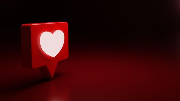 Значок уведомления о любви 3d светится высокое качество рендеринга