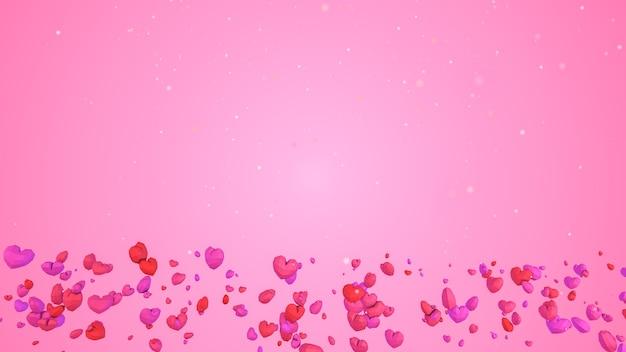 분홍색 배경에 하늘에서 떨어지는 3d 낮은 폴리 기하학적 심장, 발렌타인 데이 개념, 복사 공간이 있는 우아한 사랑 인사말 카드 배경