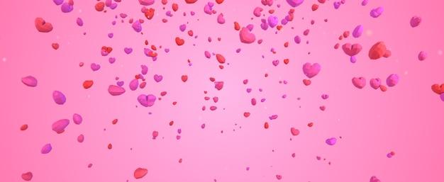 분홍색 배경에 하늘에서 떨어지는 3d 낮은 폴리 기하학적 심장, 발렌타인 데이 개념, 우아한 사랑 인사말 카드 배경