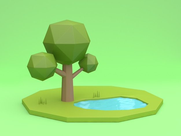 3d low poly tree green background and pond reflection cartoon style 3d rendering