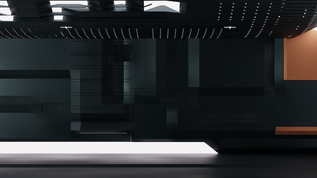 3d machine room with hight technology background with dark theme premium image