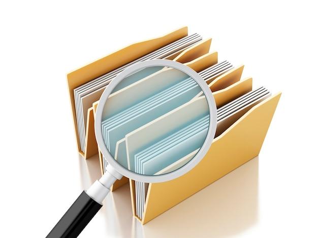 3d увеличительное стекло и компьютерные файлы