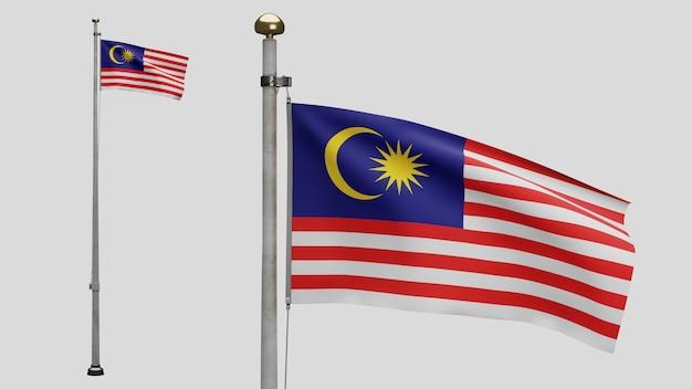 3d、風に揺れるマレーシアの旗。マレーシアのバナーを吹く、柔らかく滑らかなシルクのクローズアップ。布生地のテクスチャは、背景をエンサインします。建国記念日や国の行事のコンセプトに使用してください。