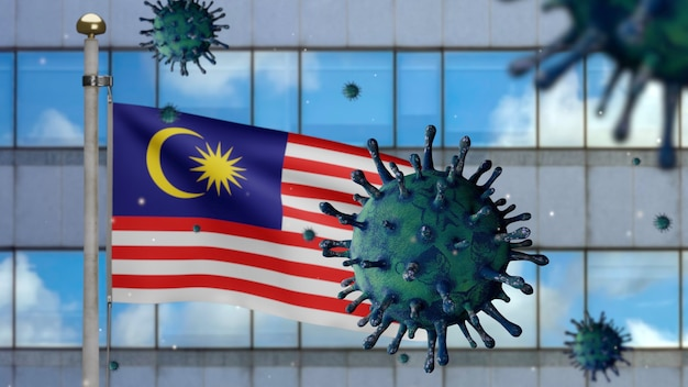 3d, malaysian flag waving and modern skyscraper city with coronavirus 2019 ncov concept. asian outbreak in malaysia, coronaviruses influenza as dangerous flu strain cases as a pandemic.