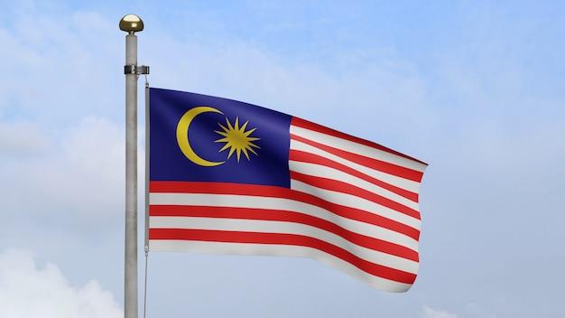 3d、青い空と雲と風に手を振るマレーシアの旗。マレーシアのバナーが吹く、柔らかく滑らかなシルク。布生地のテクスチャは、背景をエンサインします。建国記念日や国の行事のコンセプトに使用してください