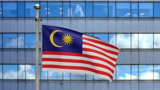 3d、現代の超高層ビルの街と風に揺れるマレーシアの旗。マレーシアのバナーを吹く、柔らかく滑らかなシルクのクローズアップ。布生地のテクスチャは、背景をエンサインします。