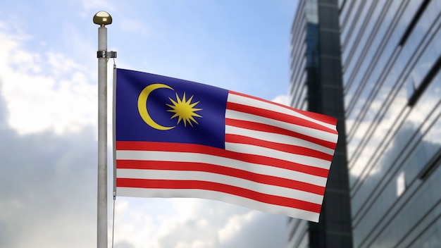 3d, malaysian flag waving on wind with modern skyscraper city. malaysia banner blowing soft silk. cloth fabric texture ensign background. use it for national day and country occasions concept.