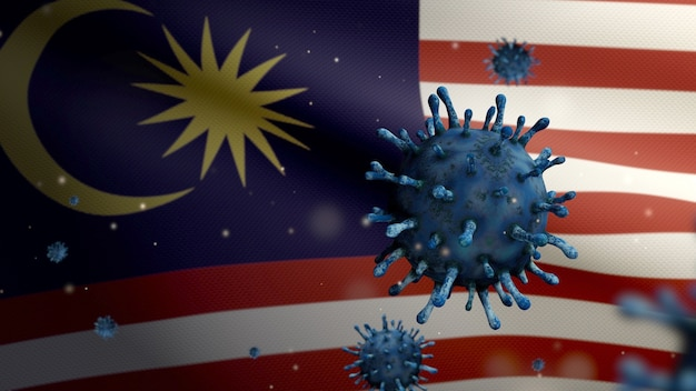 3d, malaysian flag waving with coronavirus outbreak infecting respiratory system as dangerous flu. influenza type covid 19 virus with national malaysia banner blowing background. pandemic risk concept