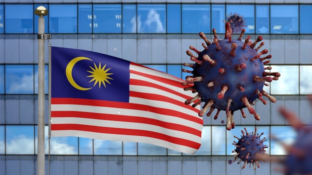 3d, malaysian flag waving with modern skyscraper city and coronavirus outbreak as dangerous flu. influenza type covid 19 virus with national malaysia banner blowing background. pandemic risk concept