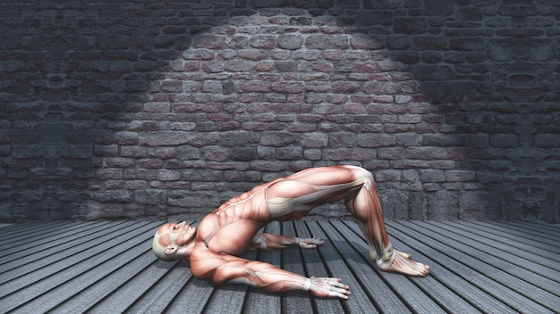 3d male figure in double leg bridge pose in grunge interior 2009