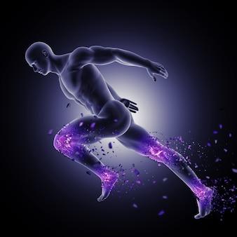 다리 관절이 강조 표시되고 산산조각이 나는 역주 포즈의 3d 남성 그림