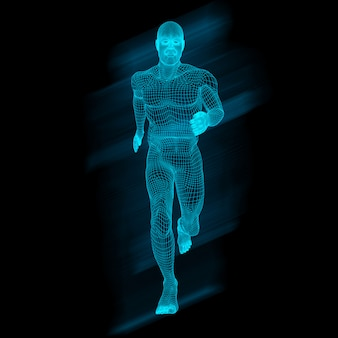 3d male figure in running pose with wireframe design