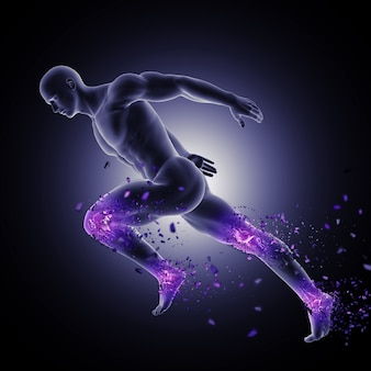 3d male figure in sprinting pose with leg joints highlighted and shattering